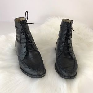 Men's Ariat Lace Up Black Leather Boots 8.5 Heel